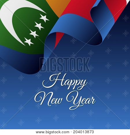 Happy New Year banner. Comoros waving flag. Snowflakes background. Vector illustration.