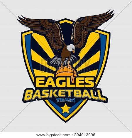 Basketball logo team of eagles for your design, print and internet. Vector illustration