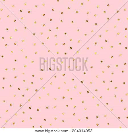 Golden Dots Seamless Pattern On Pink Background. Interesting Gradient Golden Dots Endless Random Sca