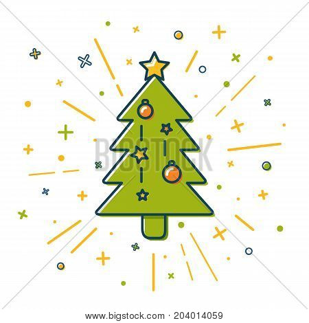 Colored Christmas tree icon in thin line style. Decorated fir tree with baubles and star isolated on white background.