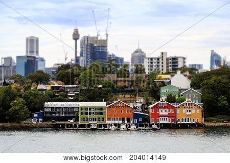 Cityscape of Sydney at front Wharf, Sydney Australia