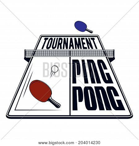 Logo design ping pong tournament for printing press and on T-shirts, publications on the Internet. Vector image