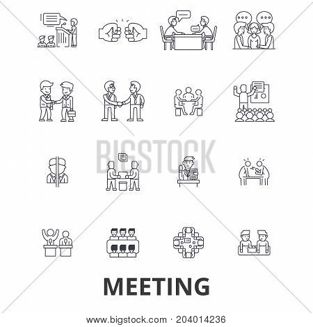 Meeting, conference, business room, presentation, office, handshake, consulting line icons. Editable strokes. Flat design vector illustration symbol concept. Linear signs isolated on white background