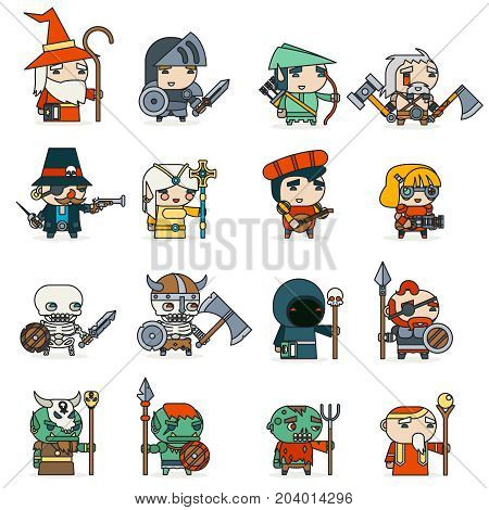 Lineart Fantasy RPG Game Heroes Villains Minions Character Icons Vector Set Flat Design Vector Illustration