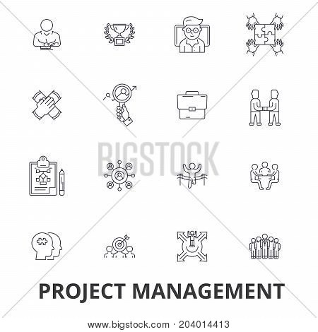 Project management, project, plan, consulting, chart, construction, engineering line icons. Editable strokes. Flat design vector illustration symbol concept. Linear signs isolated on white background