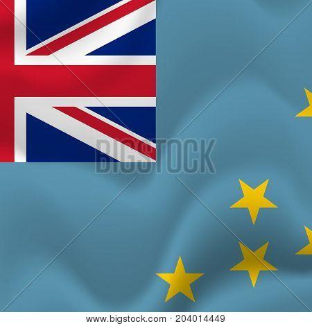 Tuvalu waving flag. Waving flag. Vector illustration.