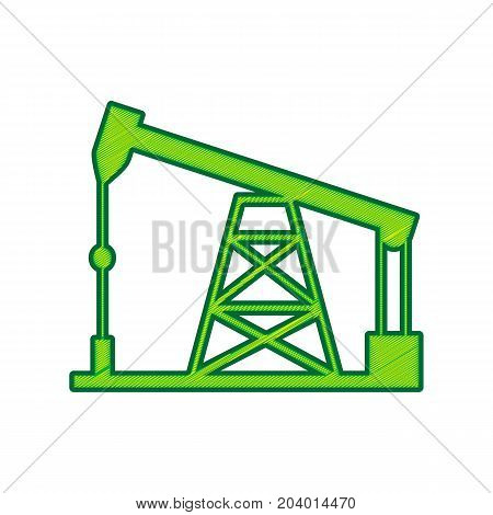 Oil drilling rig sign. Vector. Lemon scribble icon on white background. Isolated