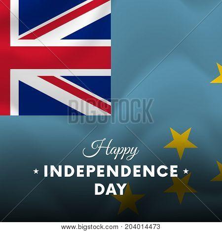 Banner or poster of Tuvalu independence day celebration. Waving flag. Vector illustration.