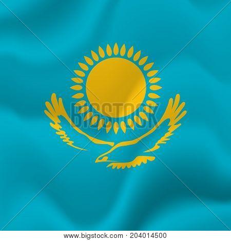 Kazakhstan waving flag. Waving flag. Vector illustration.
