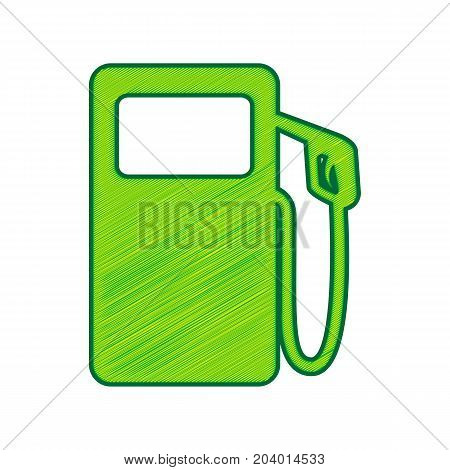 Gas pump sign. Vector. Lemon scribble icon on white background. Isolated