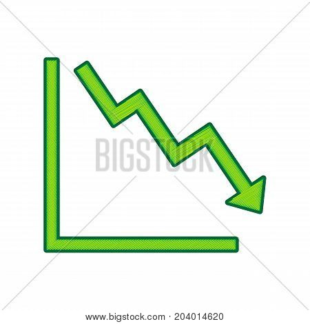 Arrow pointing downwards showing crisis. Vector. Lemon scribble icon on white background. Isolated