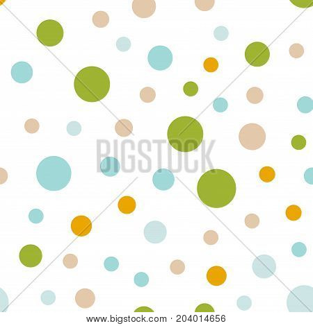 Colorful Polka Dots Seamless Pattern On White 1 Background. Extraordinary Classic Colorful Polka Dot