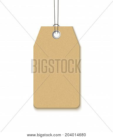 Label with a metal grommet isolated on white background. Realistick vector template blank craft paper label for sale and promo design
