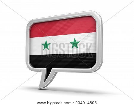 3d Illustration. Speech bubble with Syrian flag. Image with clipping path