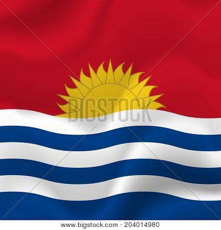 Kiribati waving flag. Waving flag. Vector illustration.