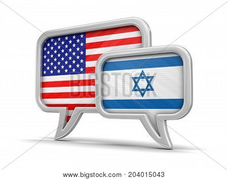 3d Illustration. Speech bubbles with USA and Israeli flags. Image with clipping path