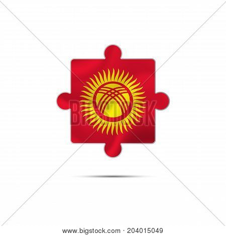 Isolated piece of puzzle with the Kyrgyzstan flag. Vector illustration.
