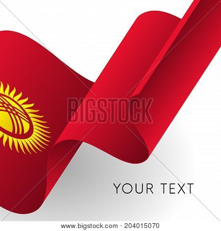 Kyrgyzstan flag. Patriotic design. Waving flag. Vector illustration.