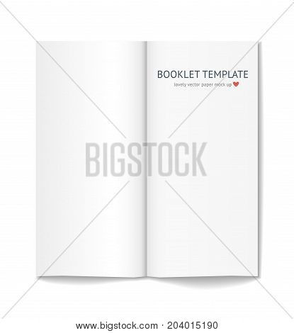 Blank white booklet with shadow isolated on white background. Magazine template on gray background. realistic vector mock up
