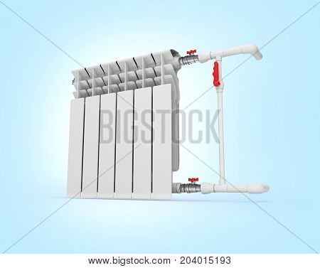 Heating White Radiator Isolated On Blue Gradient Background 3D