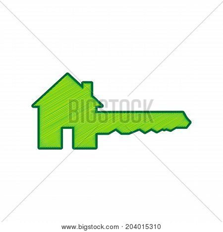 Home Key sign. Vector. Lemon scribble icon on white background. Isolated