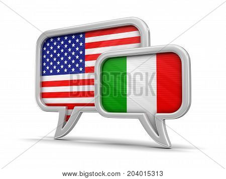 3d Illustration. Speech bubbles with USA and Italian flags. Image with clipping path