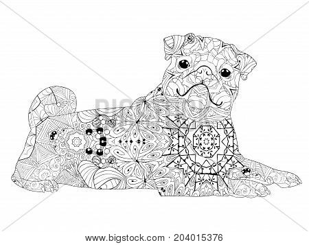 dog zentangle styled with clean lines for coloring book for anti stress t-shirt design tattoo and other decorations