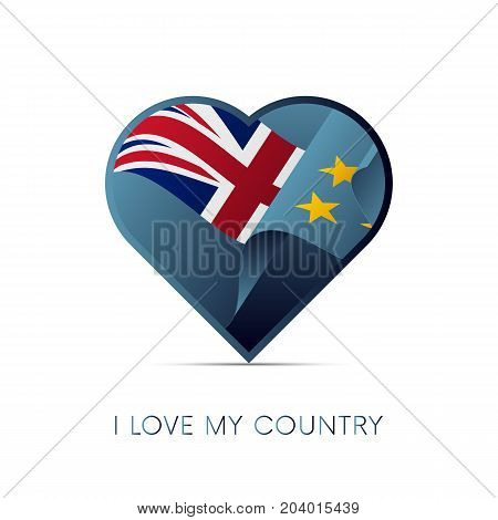 Tuvalu flag in heart. I love my country. sign. Vector illustration.