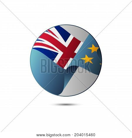 Tuvalu flag button with shadow on a white background. Vector illustration.