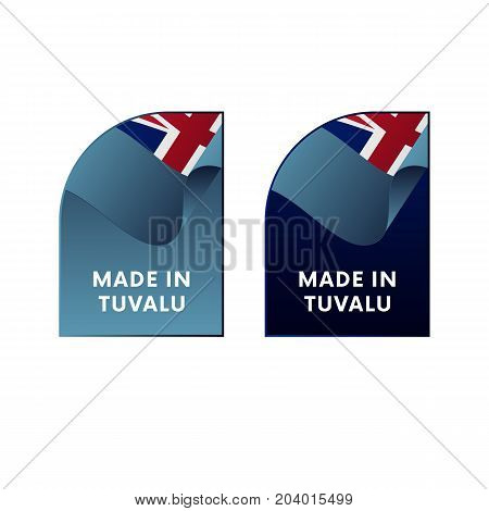 Stickers Made in Tuvalu. Waving flag. Vector illustration.