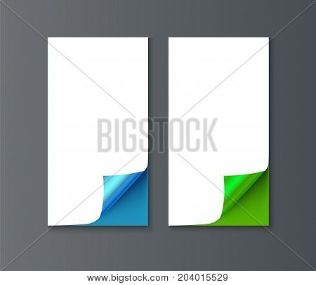 Set of vertical banner template with curl corners. Realistic vector paper with curved corner. Paper temolate for print and web banner, flyer for sale and promo advertising