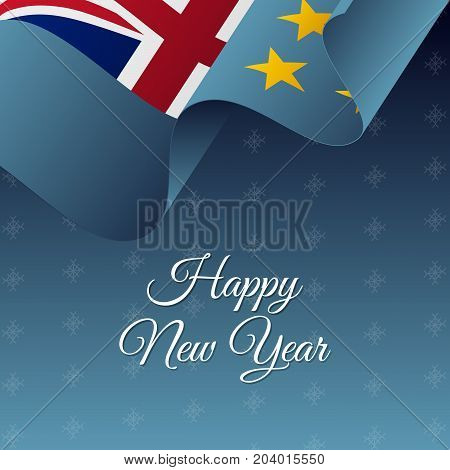 Happy New Year banner. Tuvalu waving flag. Snowflakes background. Vector illustration.