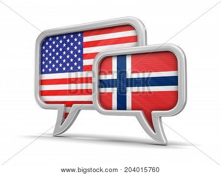 3d Illustration. Speech bubbles with USA  and Norwegian flags. Image with clipping path