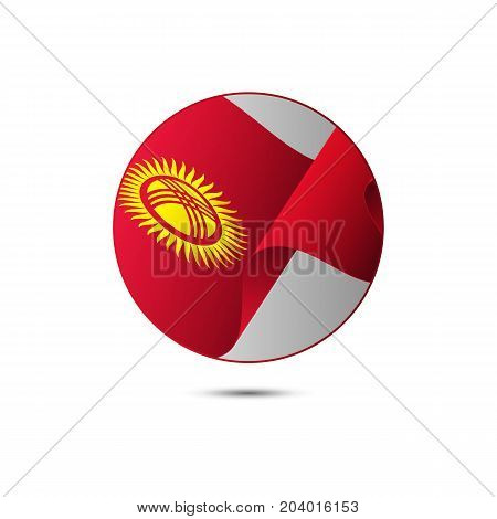 Kyrgyzstan flag button with shadow on a white background. Vector illustration.