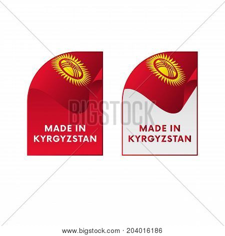 Stickers Made in Kyrgyzstan. Waving flag. Vector illustration.
