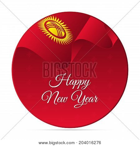 Happy New Year banner or sticker. Kyrgyzstan waving flag. Snowflakes background. Vector illustration.