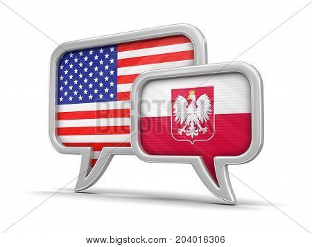 3d Illustration. Speech bubbles with USA and Polish flags. Image with clipping path
