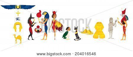 Big set of ancient Egypt idols, symbols, landmarks and characters, flat cartoon vector illustration isolated on white background. Set of flat Egypt, Egyptian symbols, concepts, idols and characters