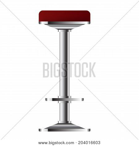 Red and metallic bar stool vector illustration. Realistic 3d High Bar chair for Bar interior design.