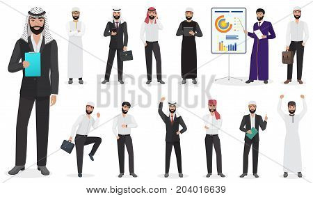 Arab Businessman man Character poses. Muslim male positions in suit and traditional clothes cartoon vector illustration