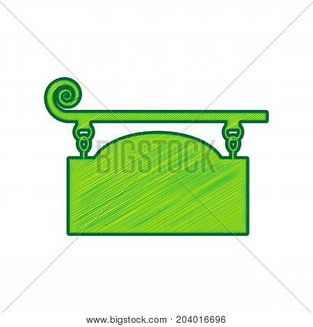 Wrought iron sign for old-fashioned design. Vector. Lemon scribble icon on white background. Isolated