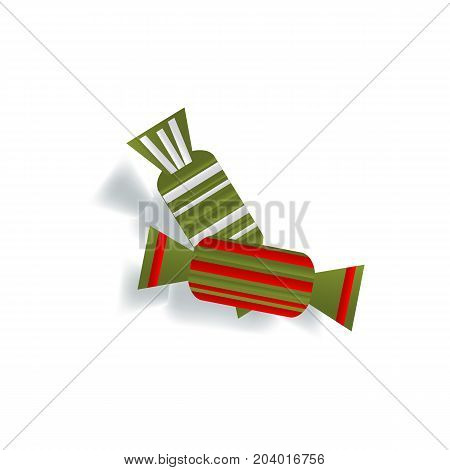 Two paper cut candies in red and green striped wrap, Christmas decoration elements, flat style vector illustration isolated on white background. Flat paper cut candies, Christmas decoration element