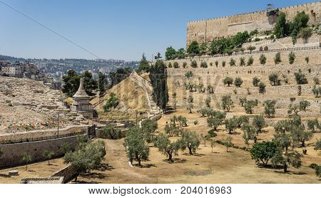 The Kidron Valley or King's Valley, the Tomb of Absalom near the walls of the Old City of Jerusalem, Israel