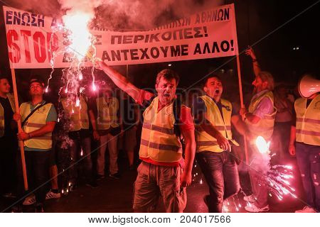 Policemen With Torches, Firefighters And Port Policeman Protest In Thessaloniki Against Further Cuts