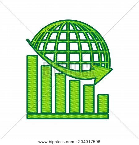 Declining graph with earth. Vector. Lemon scribble icon on white background. Isolated