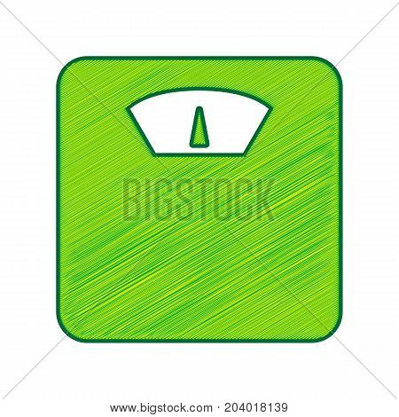 Bathroom scale sign. Vector. Lemon scribble icon on white background. Isolated