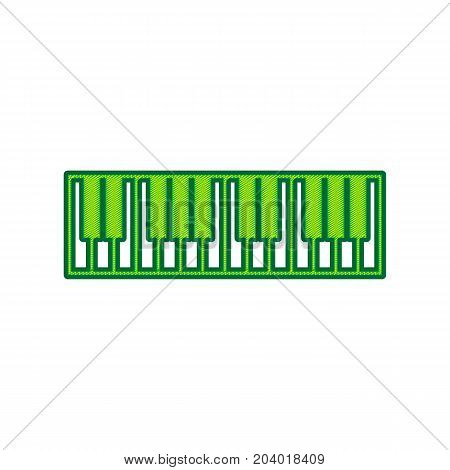 Piano Keyboard sign. Vector. Lemon scribble icon on white background. Isolated