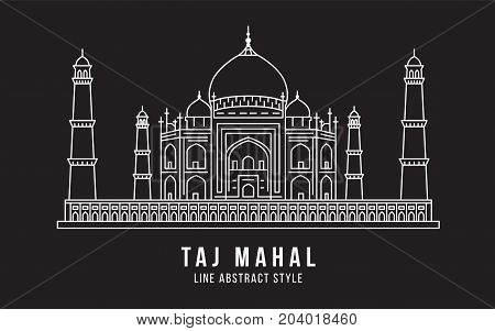 Landmark Building Line art Vector Illustration design - Taj Mahal india