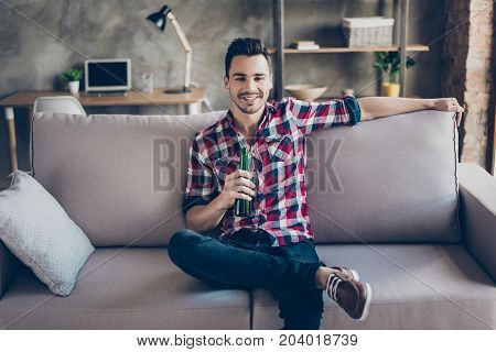 Good Life. Chilling, Calmness, Enjoying Free Time Alone. Young Brunet Hipster With Bottle Of Beer At