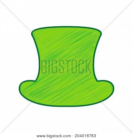 Top hat sign. Vector. Lemon scribble icon on white background. Isolated